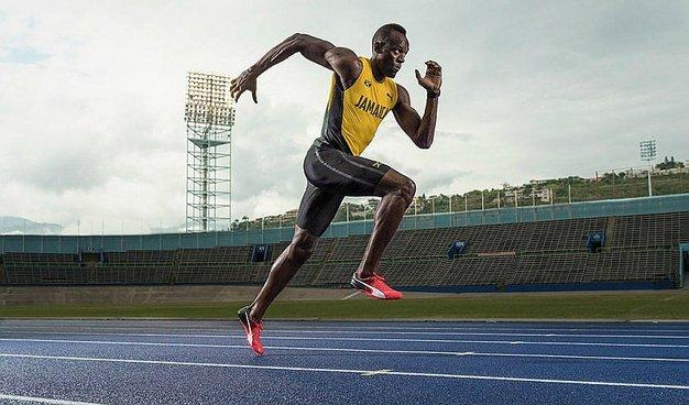 Usain Bolt wearing PUMA's new shoes