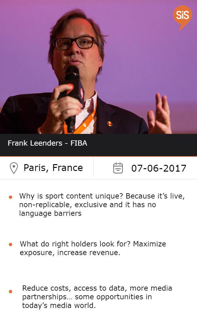 Frank Leenders, Diretor General FIBA Media & Marketing Services at #SiSParis2017
