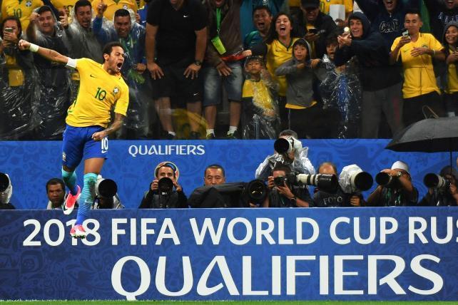 Neymar celebrating a goal with Brazil