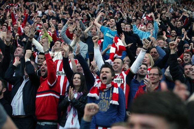Fans at an English stadium