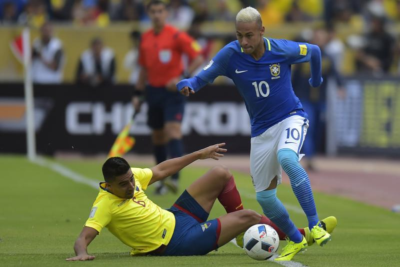 Neymar taking on a rival