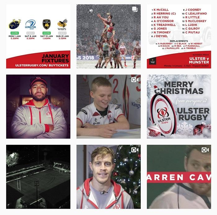 Ulster Rugby's Instagram account